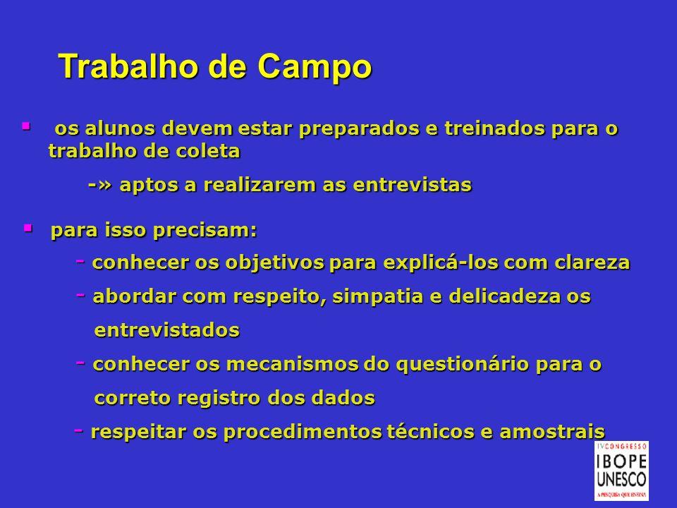 Trabalho de Campo os alunos devem estar preparados e treinados para o trabalho de coleta. -» aptos a realizarem as entrevistas.