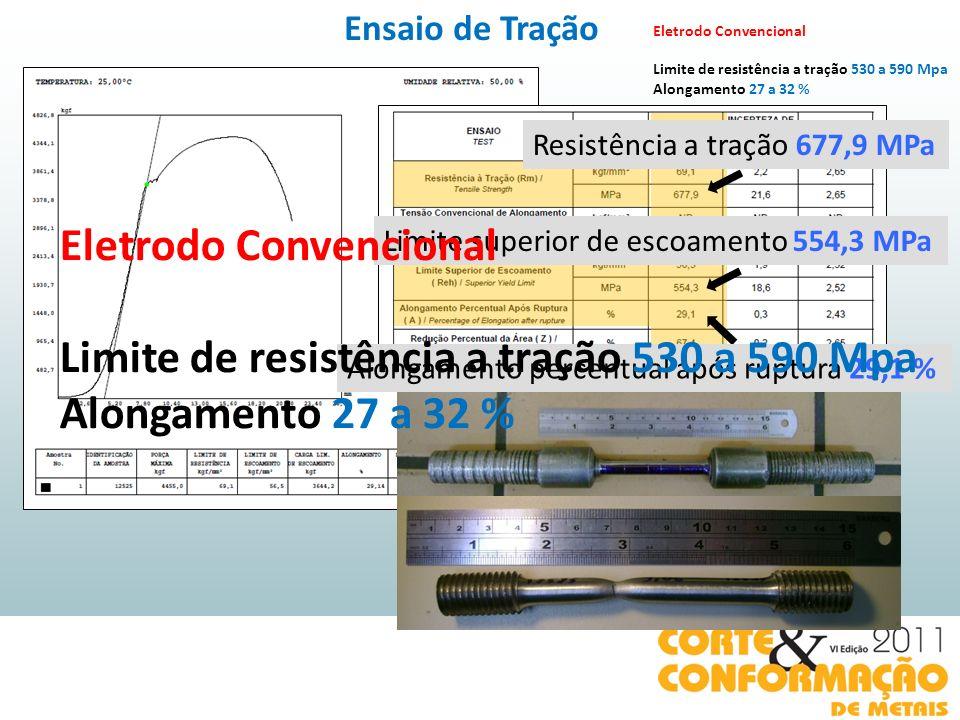 Eletrodo Convencional Limite de resistência a tração 530 a 590 Mpa