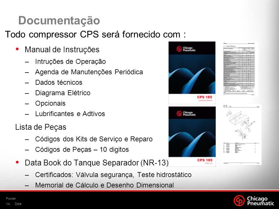 Documentação Todo compressor CPS será fornecido com :