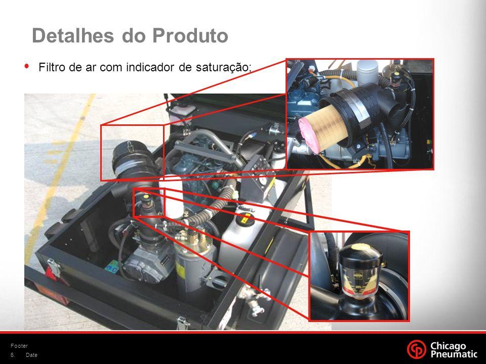 Detalhes do Produto Filtro de ar com indicador de saturação; Footer