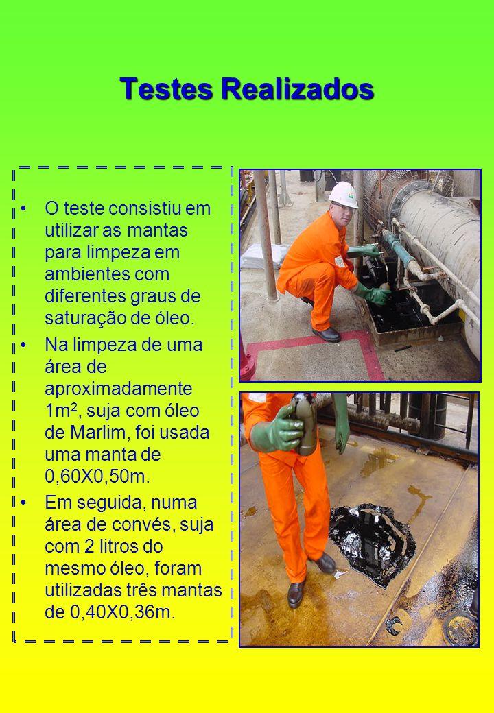 Testes Realizados O teste consistiu em utilizar as mantas para limpeza em ambientes com diferentes graus de saturação de óleo.