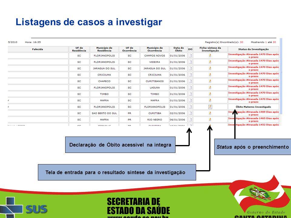 Listagens de casos a investigar