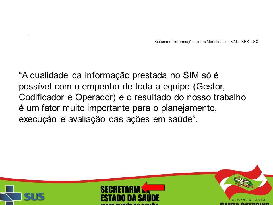 Sistema de Informações sobre Mortalidade – SIM – SES – SC