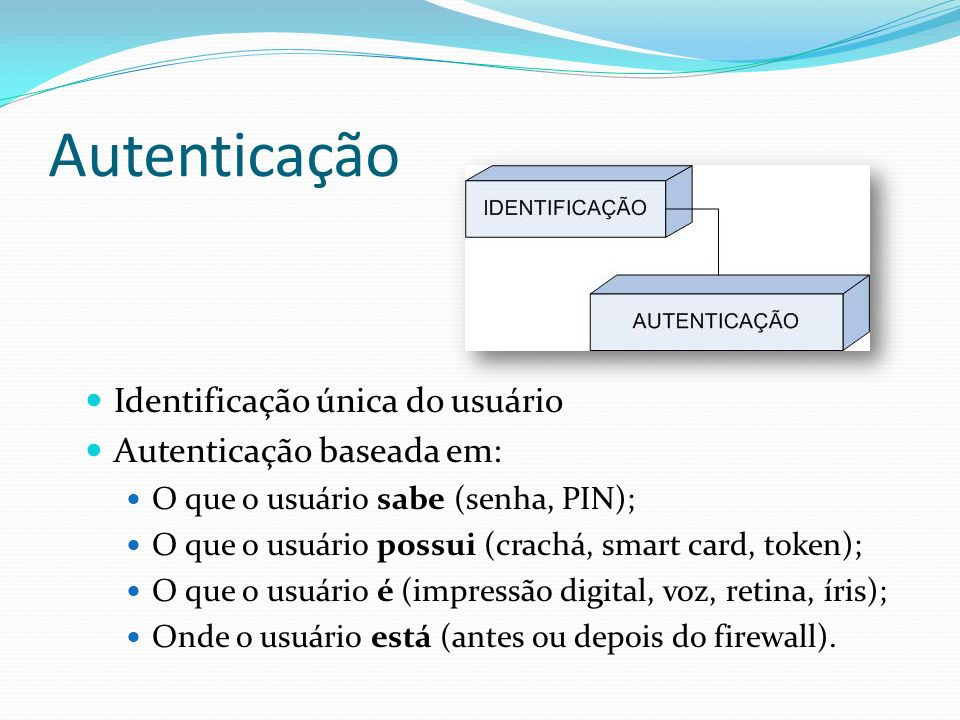 Autenticação Identificação única do usuário Autenticação baseada em: