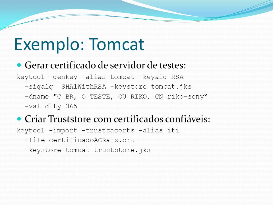 Exemplo: Tomcat Gerar certificado de servidor de testes: