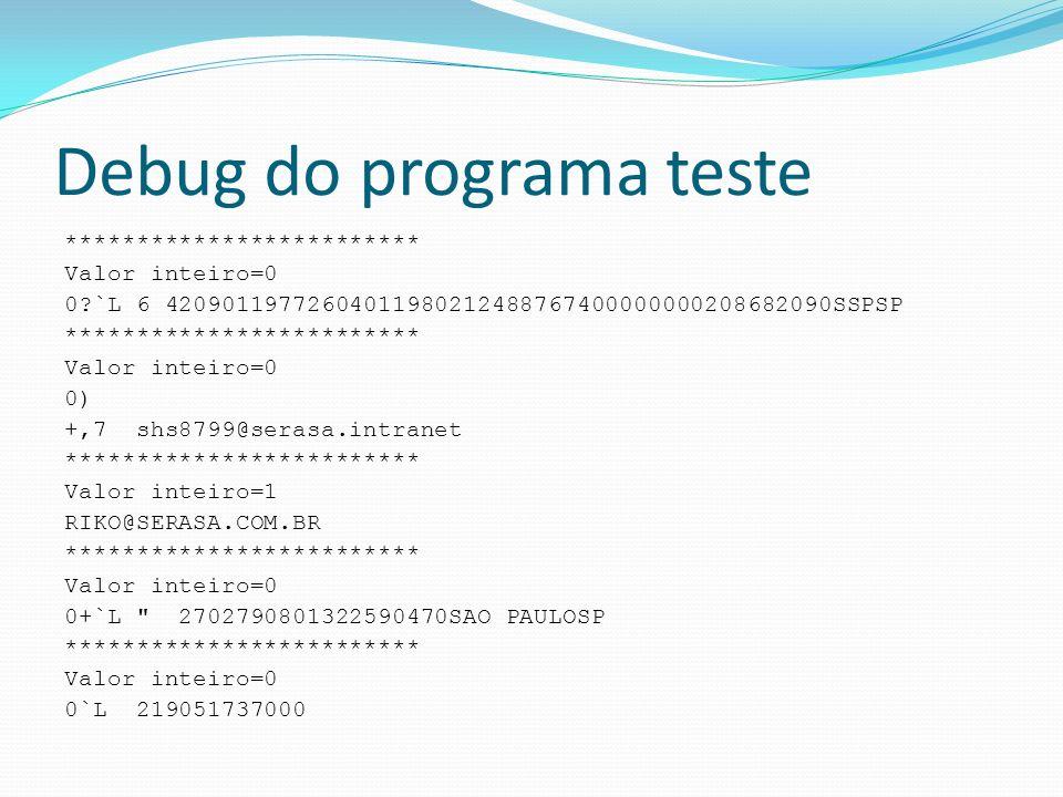 Debug do programa teste