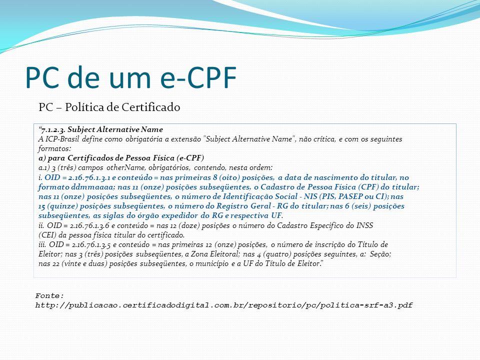 PC de um e-CPF PC – Política de Certificado