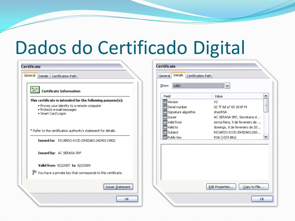 Dados do Certificado Digital