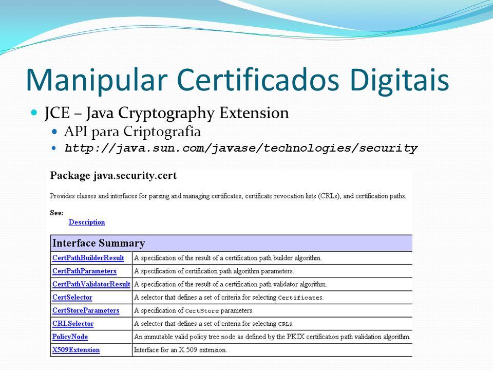 Manipular Certificados Digitais