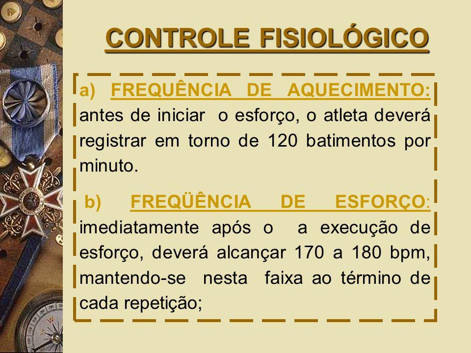 CONTROLE FISIOLÓGICO a) FREQUÊNCIA DE AQUECIMENTO: antes de iniciar o esforço, o atleta deverá registrar em torno de 120 batimentos por minuto.