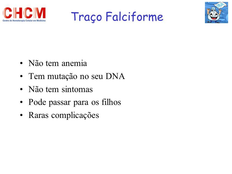 Traço Falciforme Não tem anemia Tem mutação no seu DNA