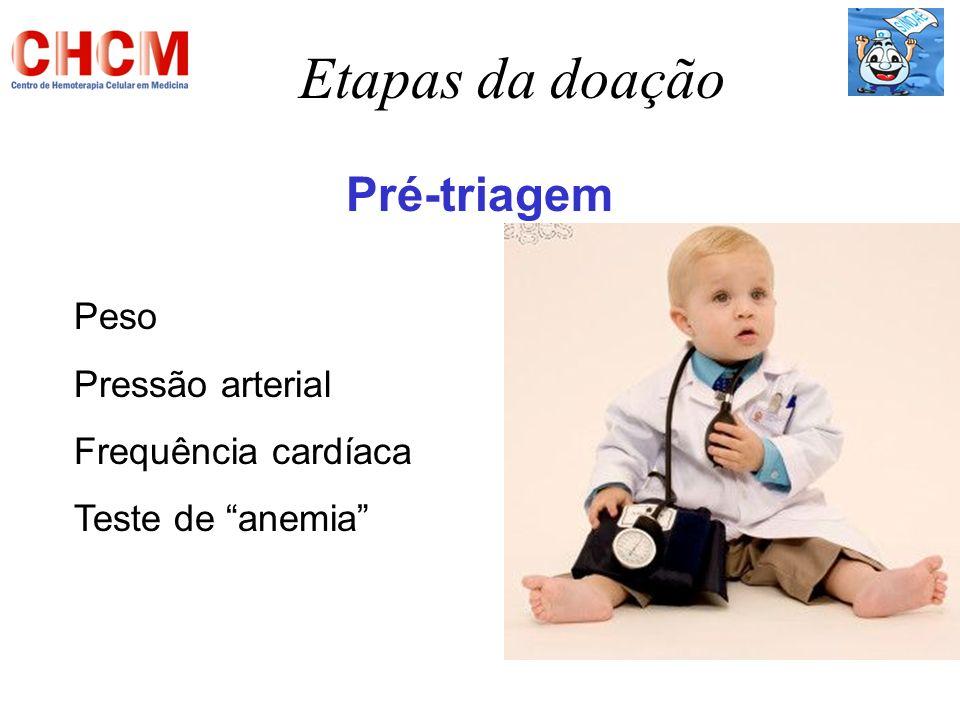 Etapas da doação Pré-triagem Peso Pressão arterial Frequência cardíaca