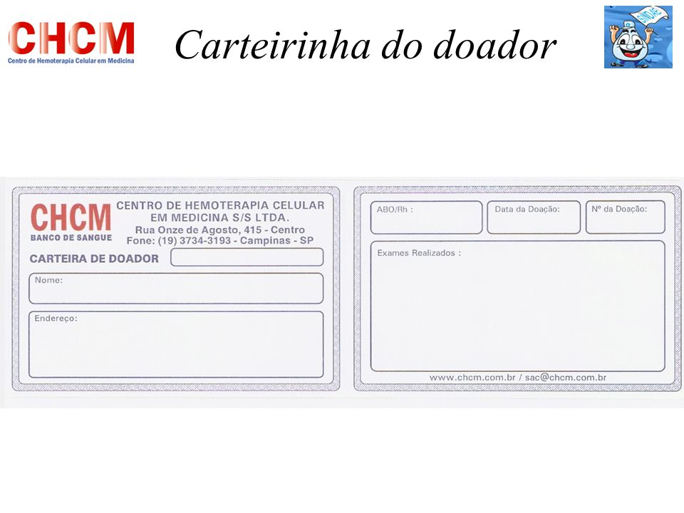 Carteirinha do doador