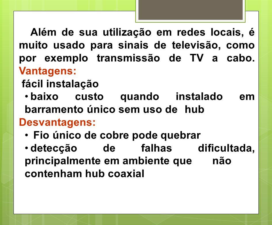 Além de sua utilização em redes locais, é muito usado para sinais de televisão, como por exemplo transmissão de TV a cabo. Vantagens: