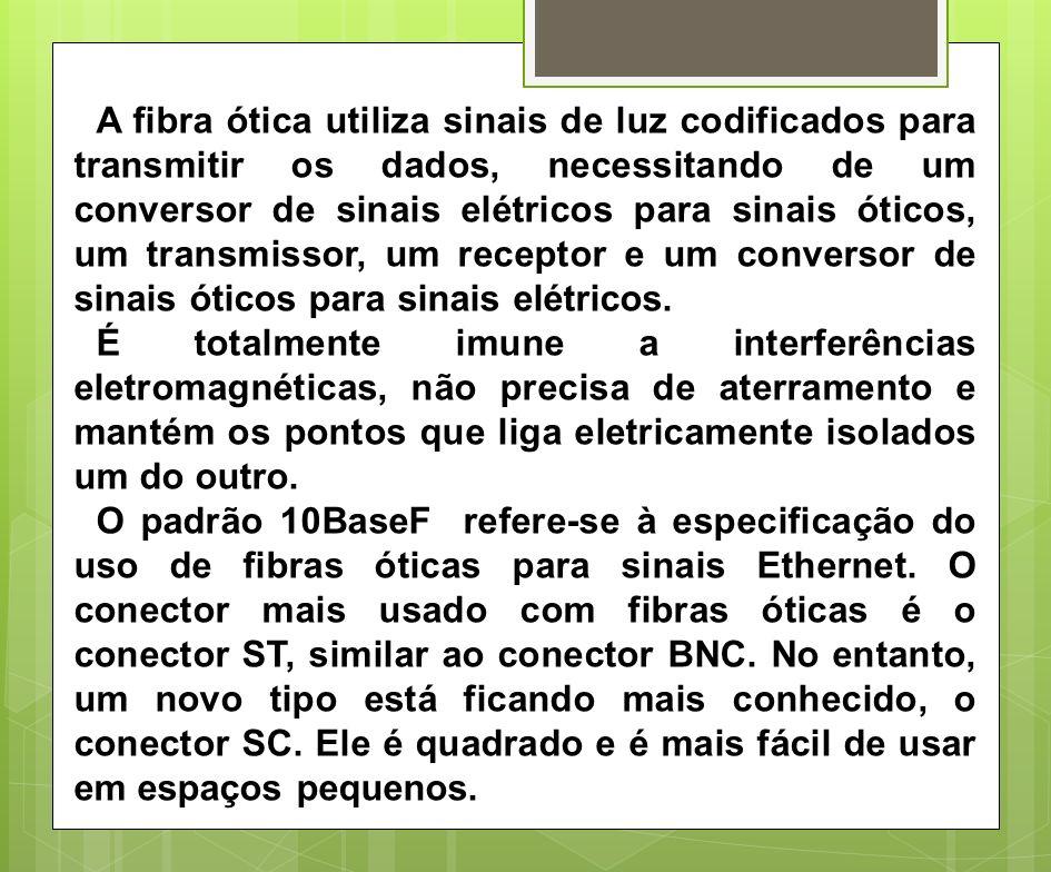 A fibra ótica utiliza sinais de luz codificados para transmitir os dados, necessitando de um conversor de sinais elétricos para sinais óticos, um transmissor, um receptor e um conversor de sinais óticos para sinais elétricos.