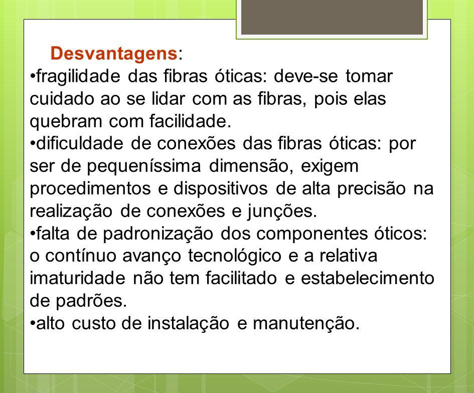 Desvantagens: fragilidade das fibras óticas: deve-se tomar cuidado ao se lidar com as fibras, pois elas quebram com facilidade.