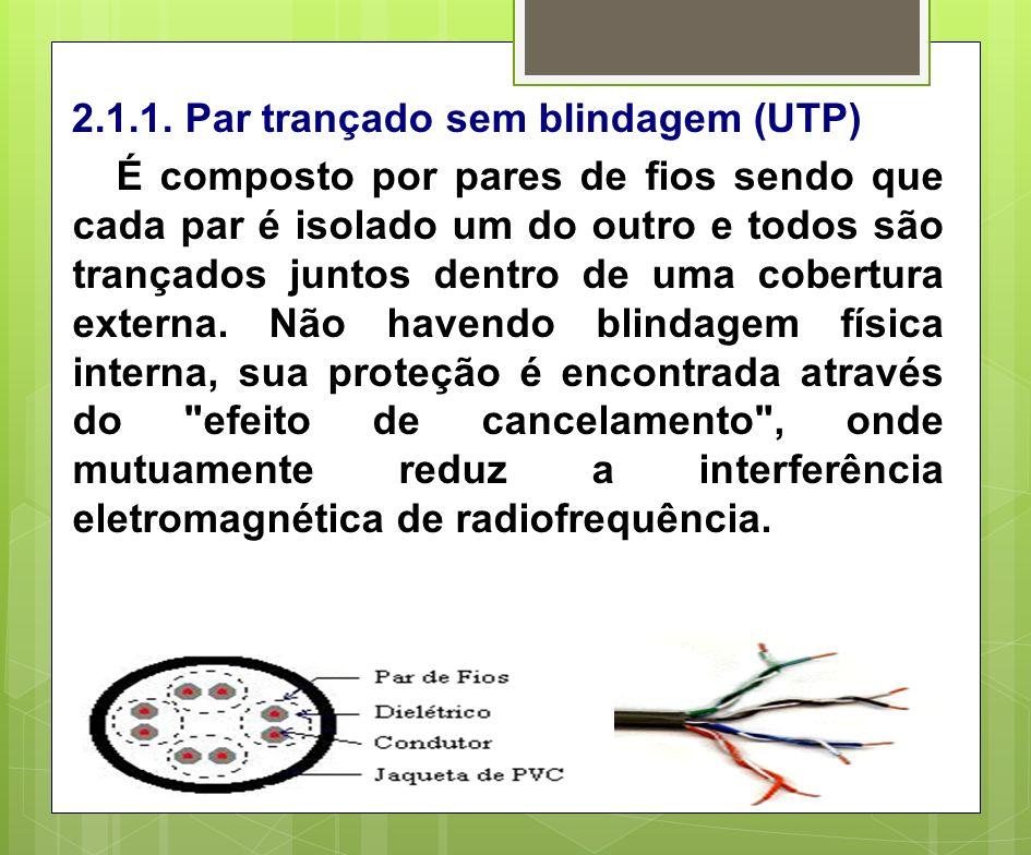 2.1.1. Par trançado sem blindagem (UTP)