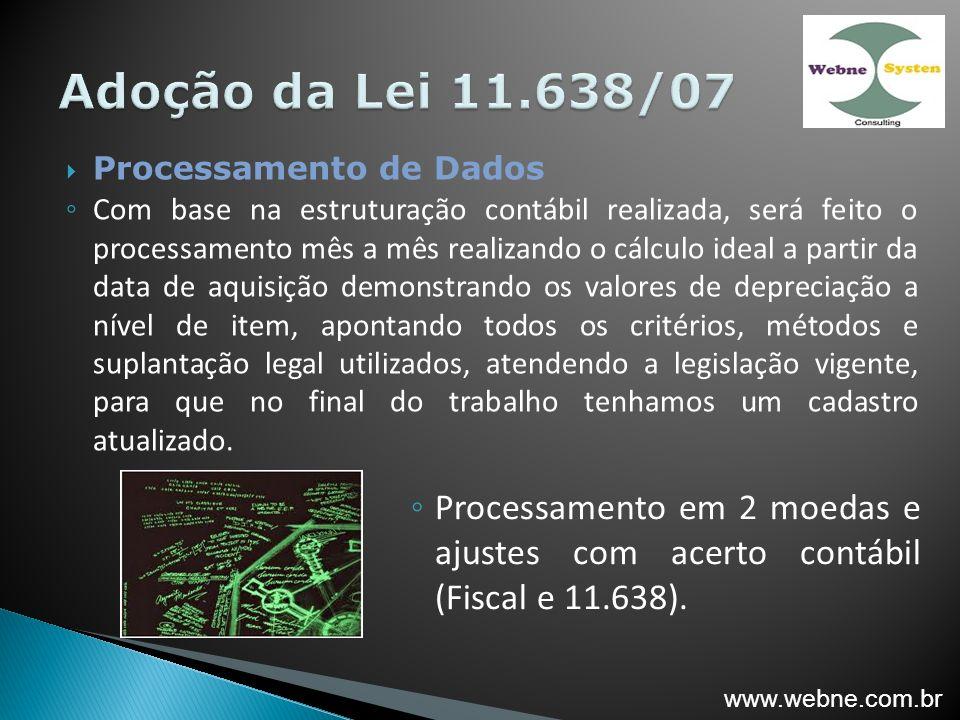 Adoção da Lei 11.638/07 Processamento de Dados.