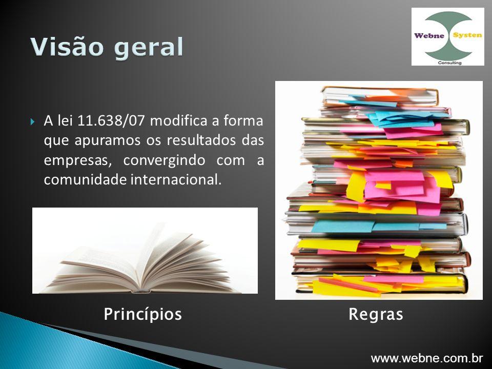Visão geral A lei 11.638/07 modifica a forma que apuramos os resultados das empresas, convergindo com a comunidade internacional.