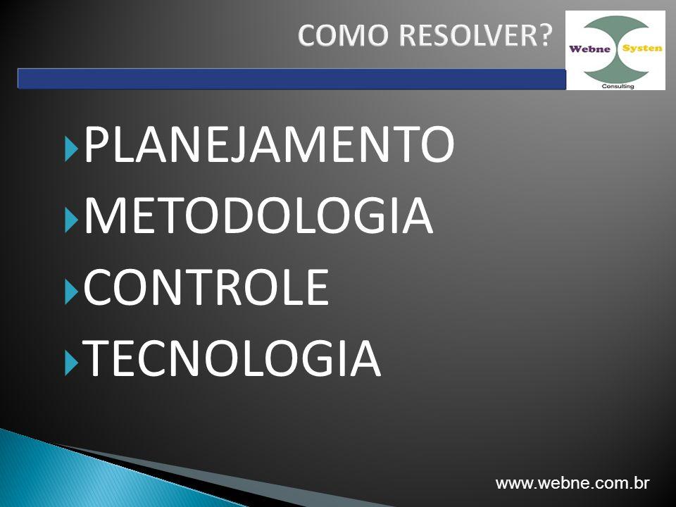 PLANEJAMENTO METODOLOGIA CONTROLE TECNOLOGIA COMO RESOLVER