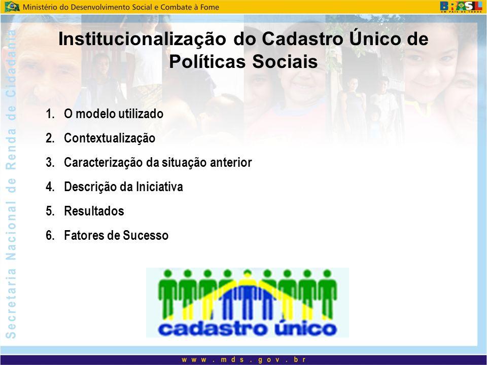 Institucionalização do Cadastro Único de Políticas Sociais