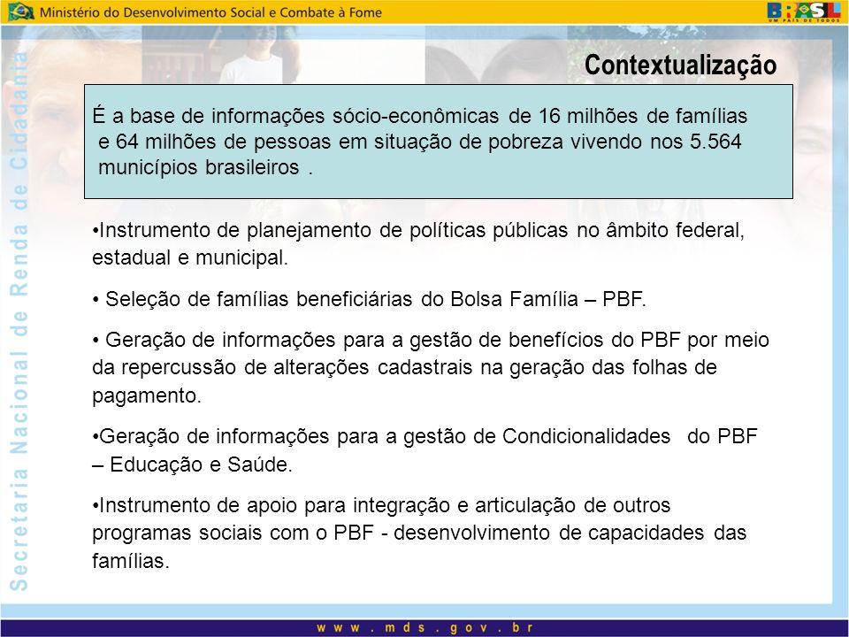 Contextualização É a base de informações sócio-econômicas de 16 milhões de famílias.