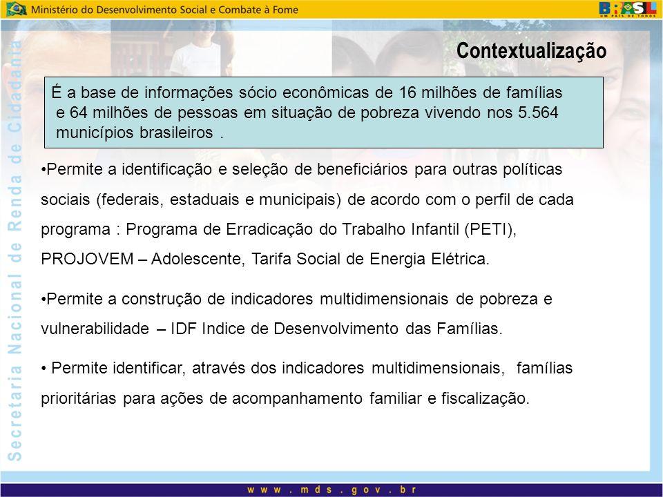 Contextualização É a base de informações sócio econômicas de 16 milhões de famílias.