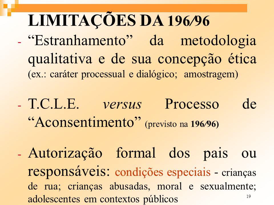 T.C.L.E. versus Processo de Aconsentimento (previsto na 196/96)