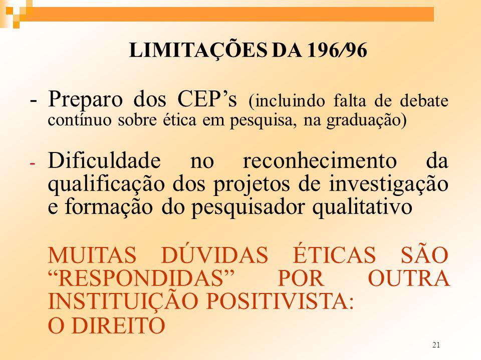30/03/2017 LIMITAÇÕES DA 196/96. - Preparo dos CEP's (incluindo falta de debate contínuo sobre ética em pesquisa, na graduação)