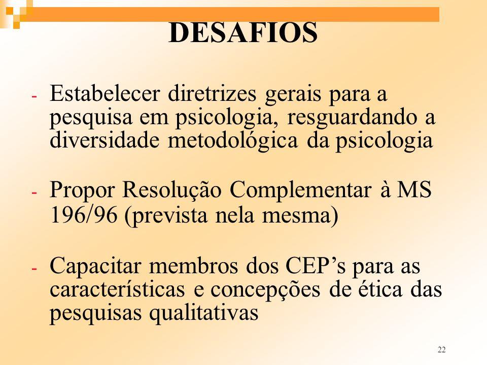 30/03/2017 DESAFIOS. Estabelecer diretrizes gerais para a pesquisa em psicologia, resguardando a diversidade metodológica da psicologia.