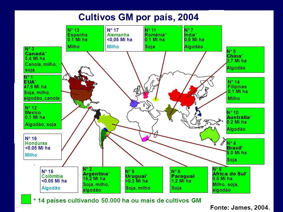 Nº 13 Espanha. 0,1 Mi ha. Milho. Nº 17. Alemanha. <0,05 Mi ha. Nº 14. Filipinas. Nº 6. Paraguai.