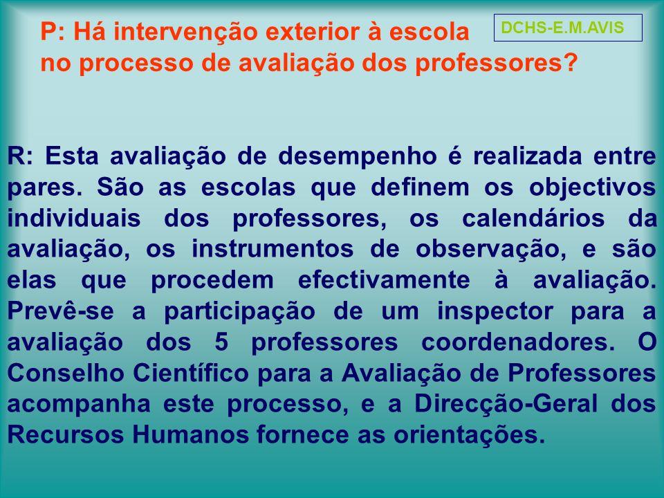DCHS-E.M.AVIS P: Há intervenção exterior à escola no processo de avaliação dos professores