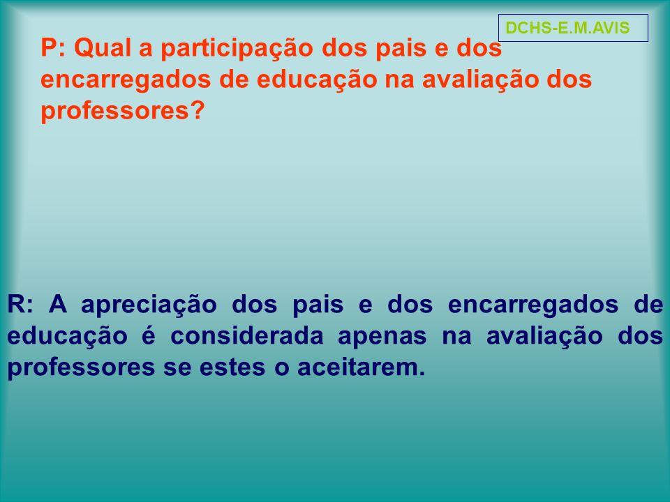 DCHS-E.M.AVIS P: Qual a participação dos pais e dos encarregados de educação na avaliação dos professores