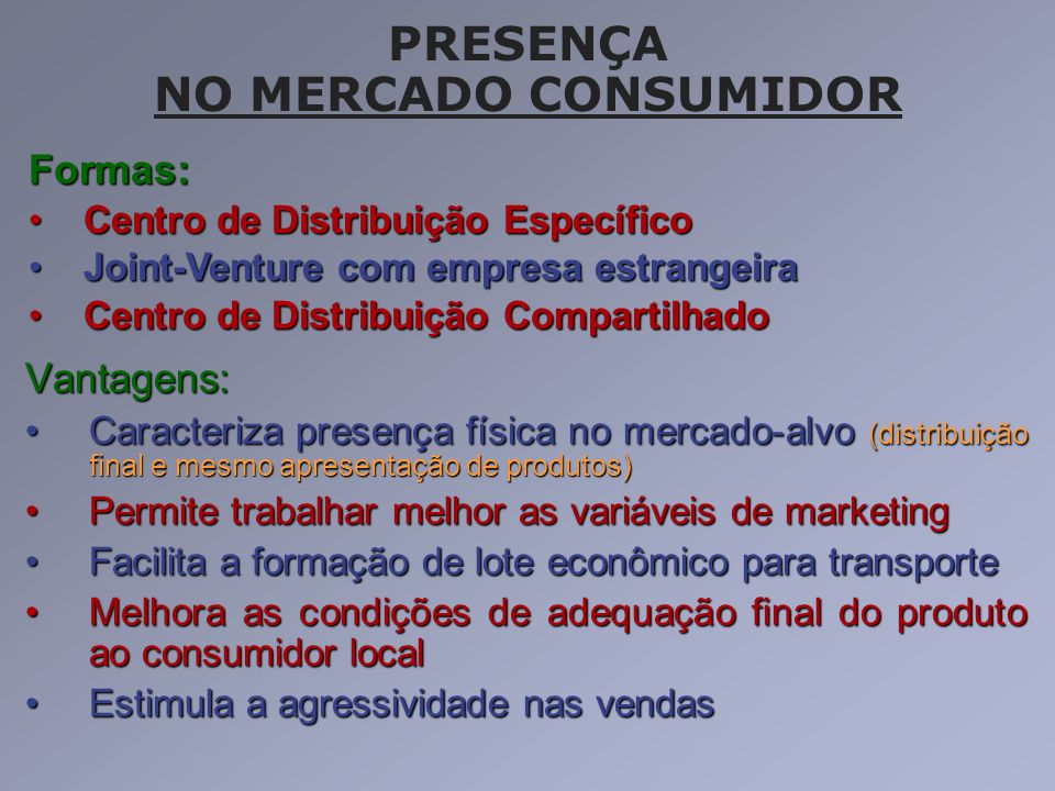 PRESENÇA NO MERCADO CONSUMIDOR