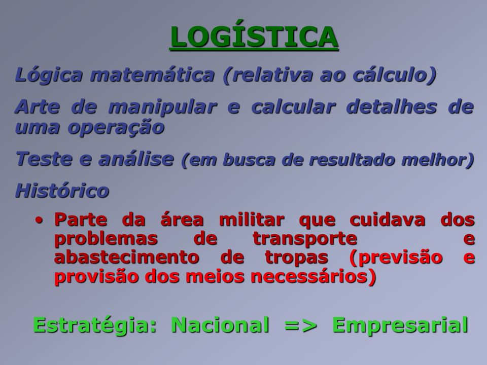 Estratégia: Nacional => Empresarial
