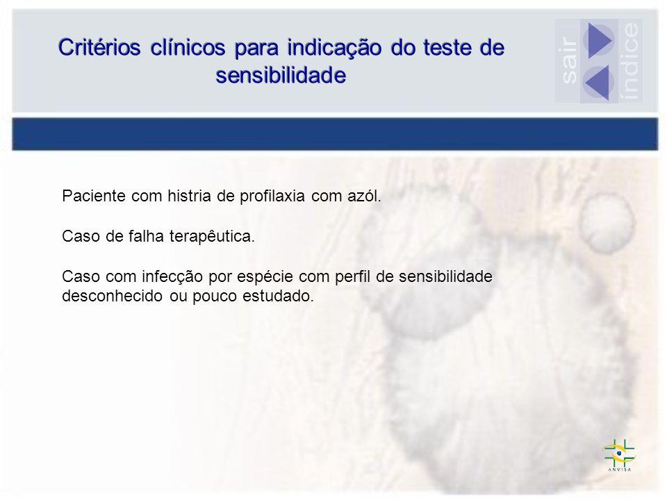 Critérios clínicos para indicação do teste de sensibilidade