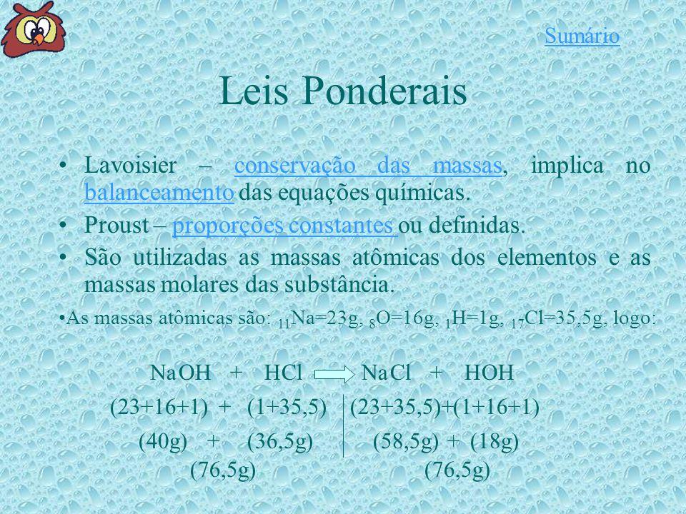 Sumário Leis Ponderais. Lavoisier – conservação das massas, implica no balanceamento das equações químicas.
