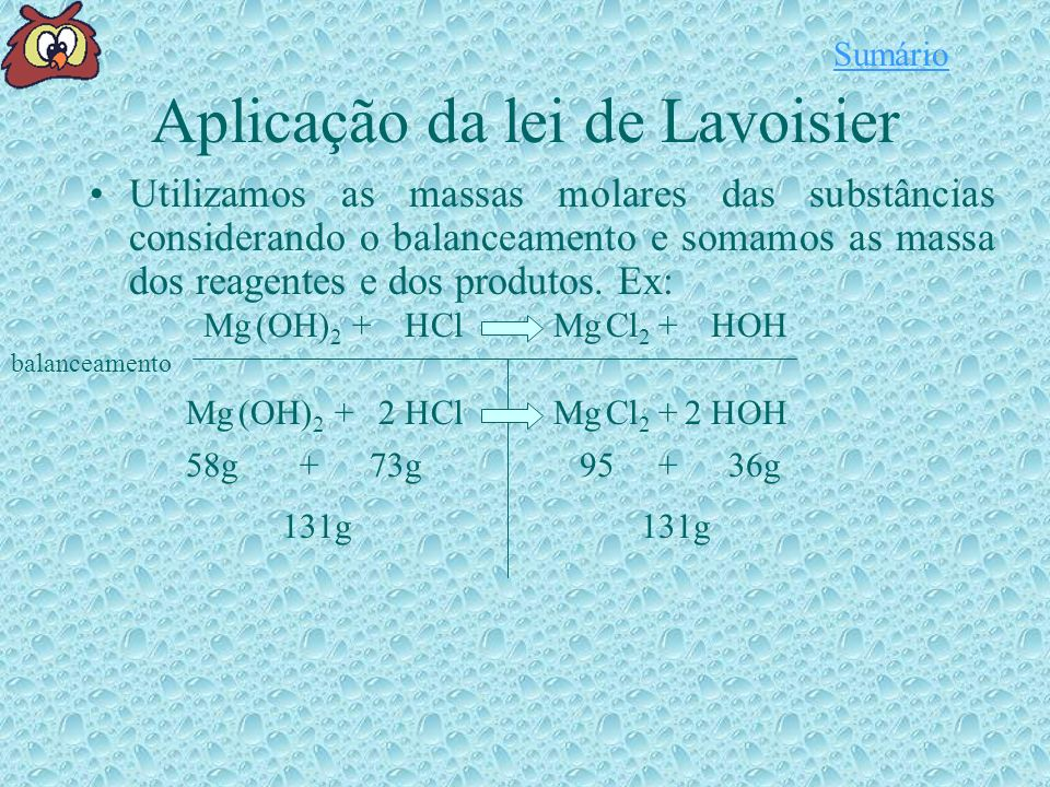 Aplicação da lei de Lavoisier