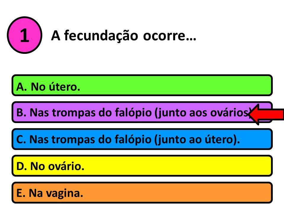 1 A fecundação ocorre… A. No útero.