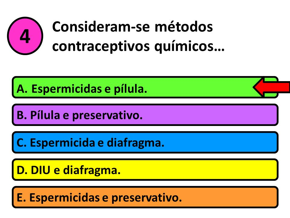 Consideram-se métodos contraceptivos químicos…