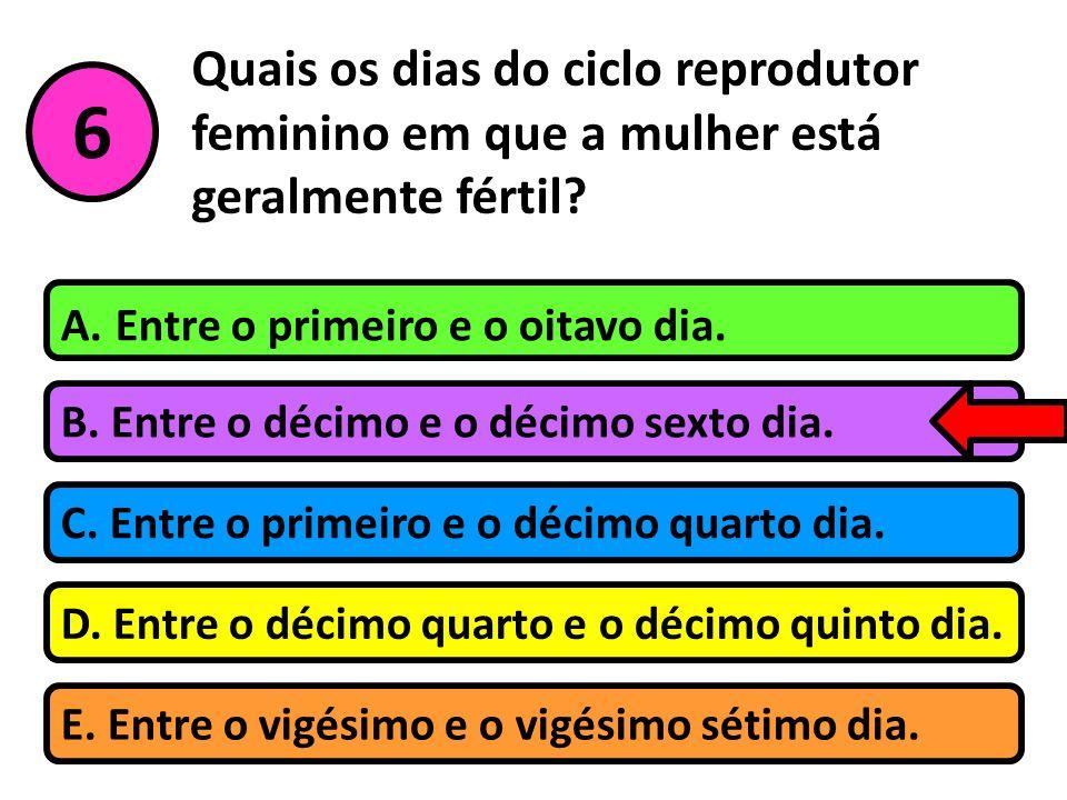 Quais os dias do ciclo reprodutor feminino em que a mulher está geralmente fértil
