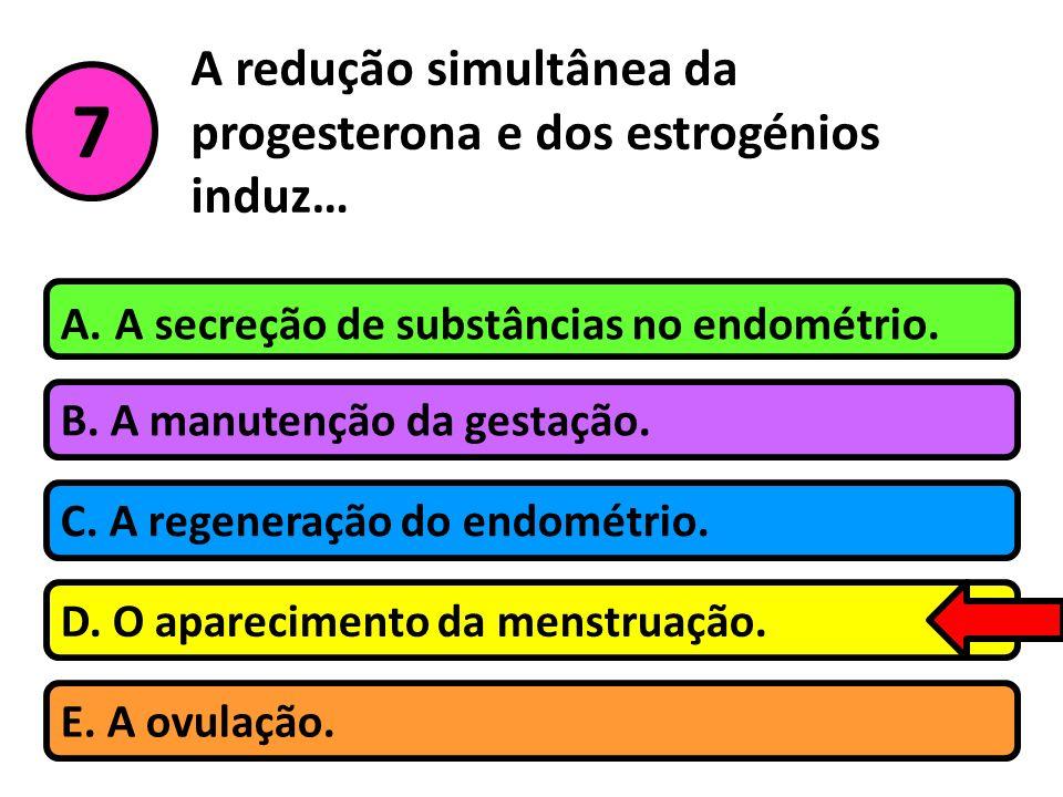 A redução simultânea da progesterona e dos estrogénios induz…