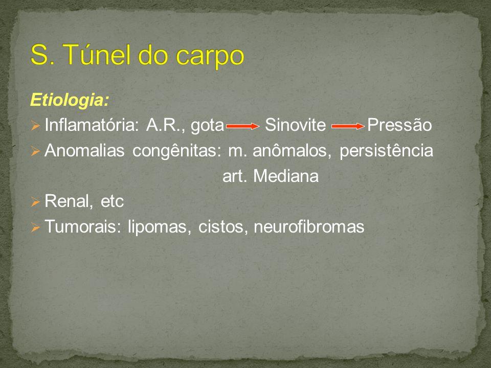 S. Túnel do carpo Etiologia: Inflamatória: A.R., gota Sinovite Pressão