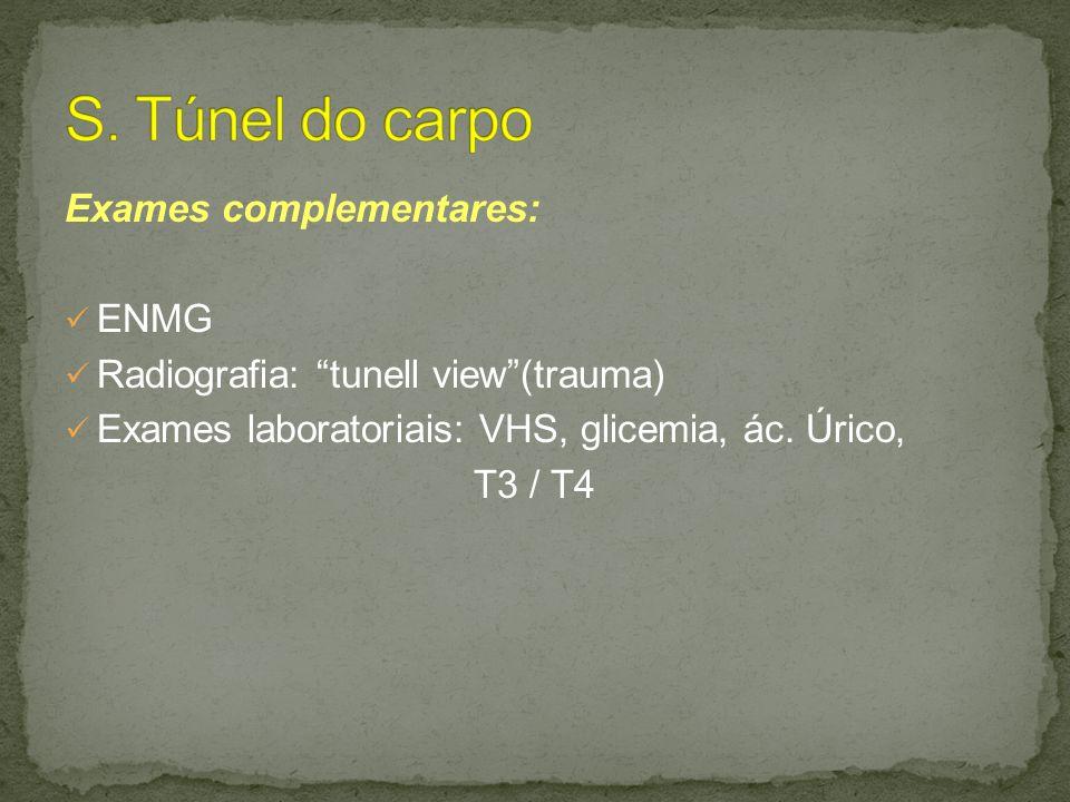 S. Túnel do carpo Exames complementares: ENMG