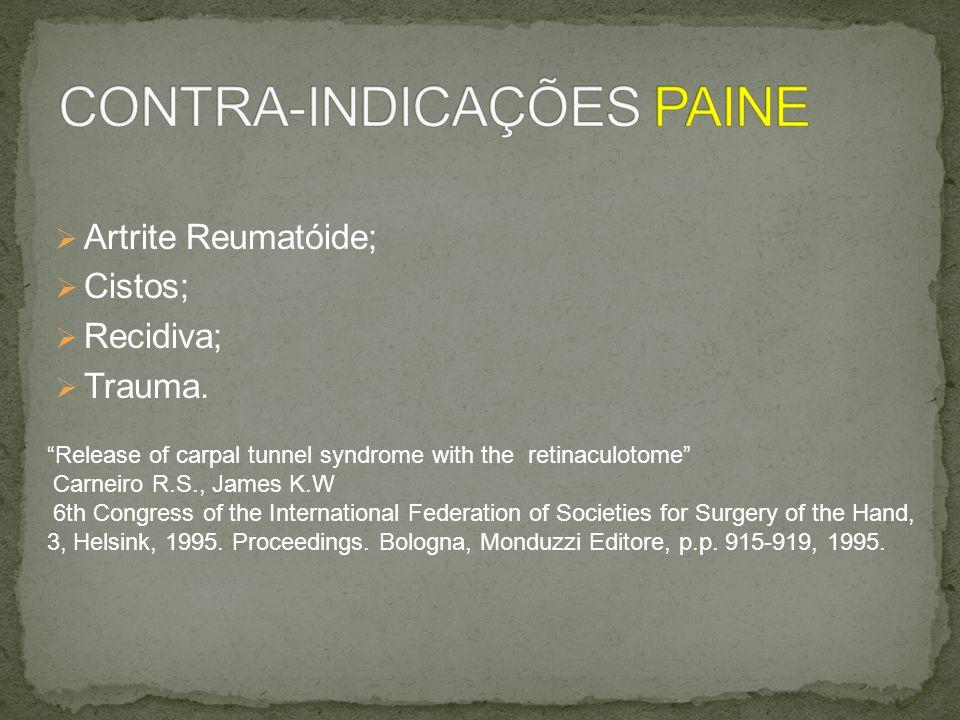 CONTRA-INDICAÇÕES PAINE