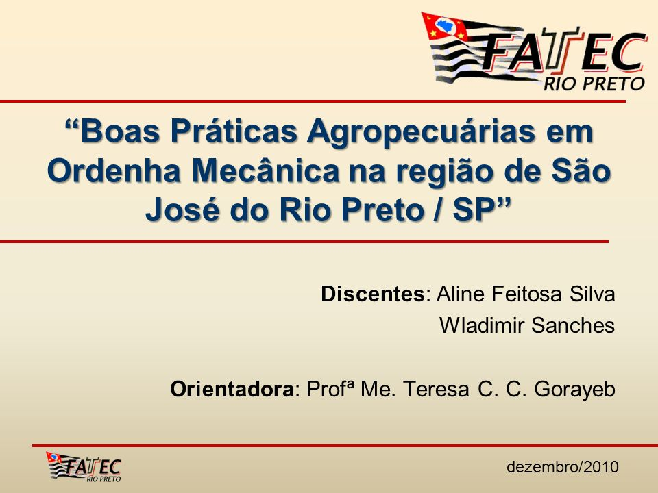 Boas Práticas Agropecuárias em Ordenha Mecânica na região de São José do Rio Preto / SP