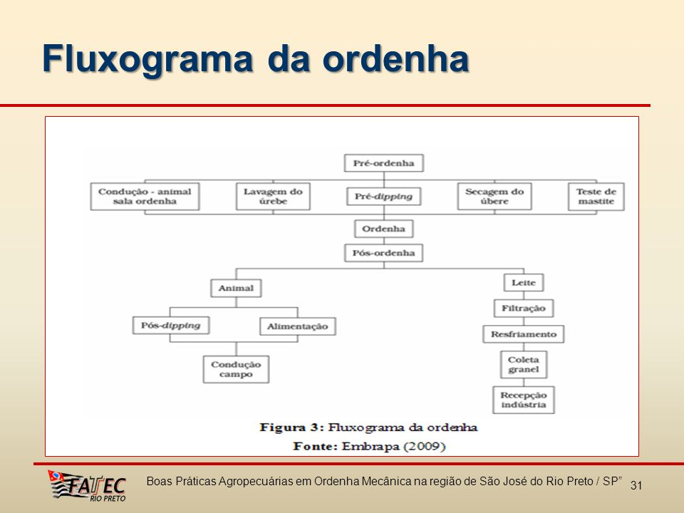 Fluxograma da ordenha Boas Práticas Agropecuárias em Ordenha Mecânica na região de São José do Rio Preto / SP