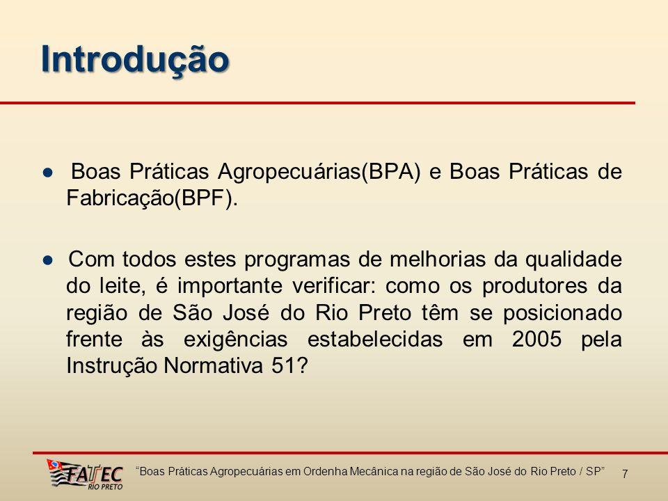 Introdução ● Boas Práticas Agropecuárias(BPA) e Boas Práticas de Fabricação(BPF).