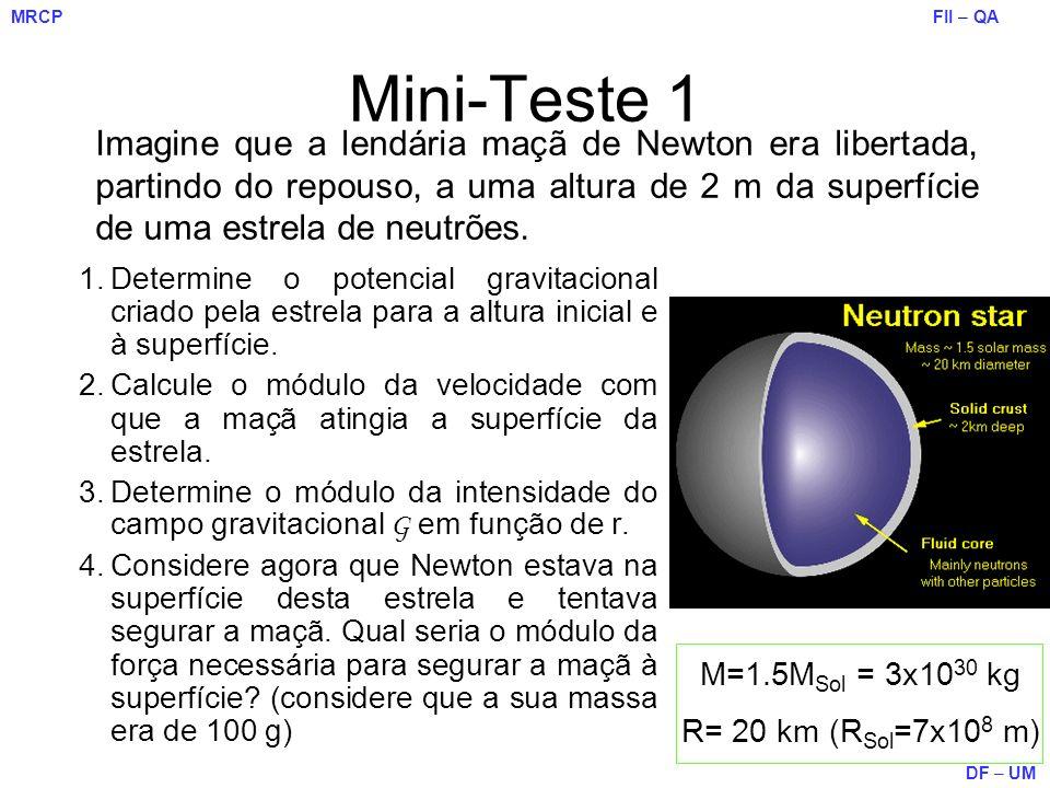 Mini-Teste 1 Imagine que a lendária maçã de Newton era libertada, partindo do repouso, a uma altura de 2 m da superfície de uma estrela de neutrões.