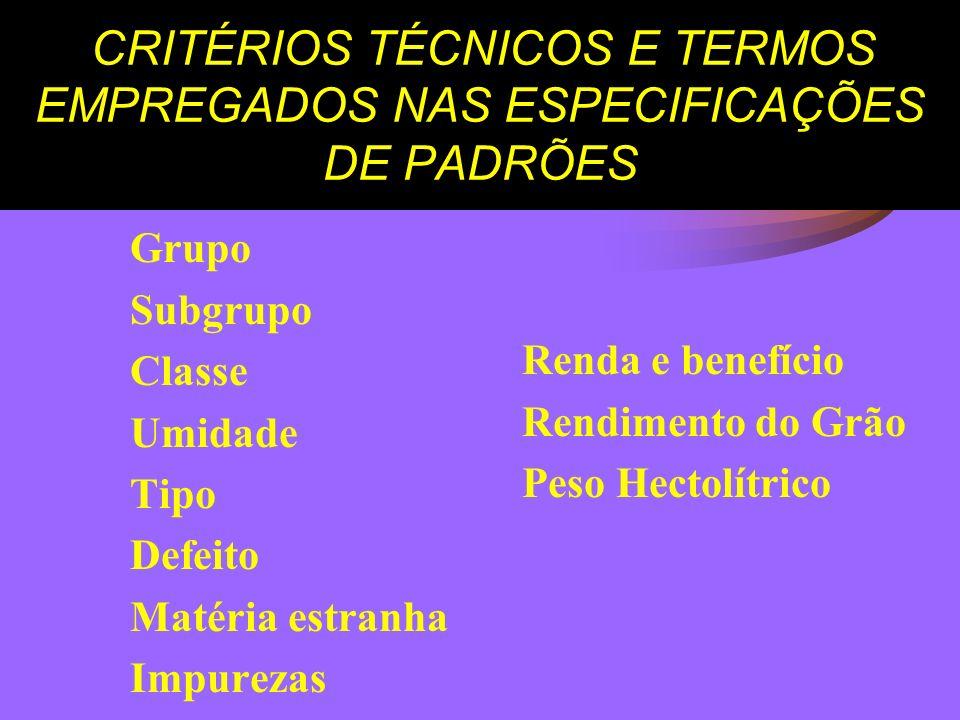 CRITÉRIOS TÉCNICOS E TERMOS EMPREGADOS NAS ESPECIFICAÇÕES DE PADRÕES